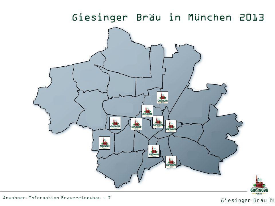 Giesinger Bräu München Anwohner-Information Brauereineubau - 8 Unsere Preispolitik 20 er Kiste Hauptsorte: 19,80 20 er Kiste Spezialsorte: 22,50 0,75 l Flasche je nach Spezialsorte: 6,80-9,50 0,5 l Bügelflasche 1,60 Fassware (netto): 164,60 /hl Direktverkauf Bier als Genuss- und Lebensmittel verdient einen angemessenen Preis