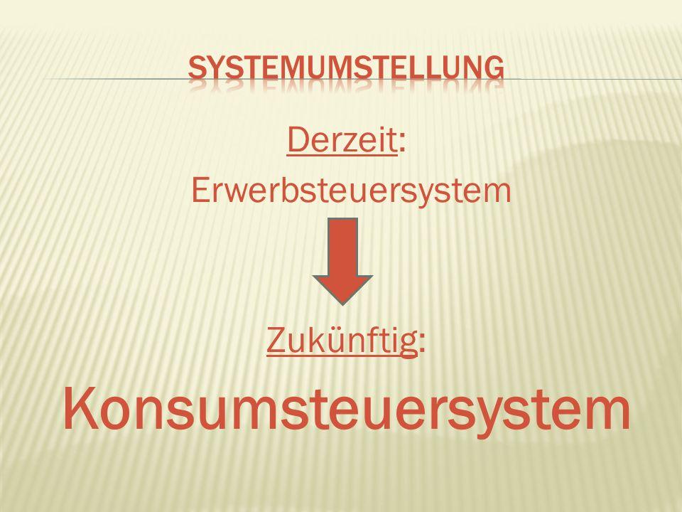 Derzeit: Erwerbsteuersystem Zukünftig: Konsumsteuersystem