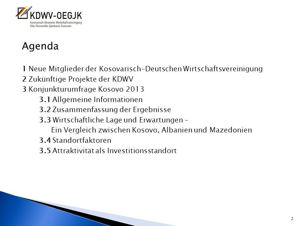 Agenda 1 Neue Mitglieder der Kosovarisch-Deutschen Wirtschaftsvereinigung 2 Zukünftige Projekte der KDWV 3 Konjunkturumfrage Kosovo 2013 3.1 Allgemein