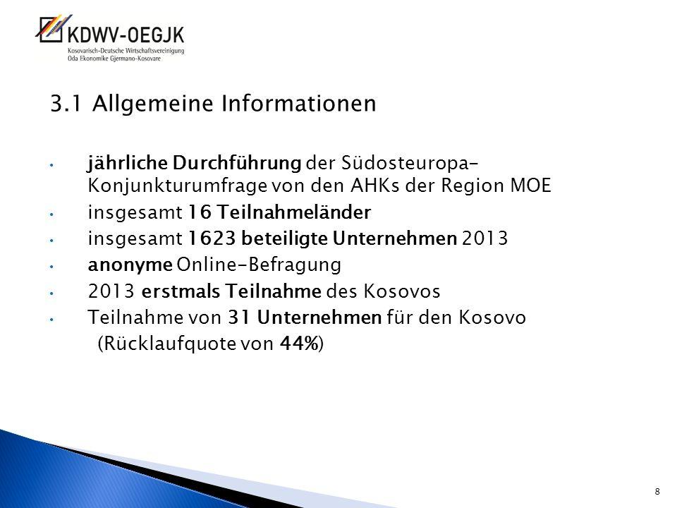 3.1 Allgemeine Informationen jährliche Durchführung der Südosteuropa- Konjunkturumfrage von den AHKs der Region MOE insgesamt 16 Teilnahmeländer insge