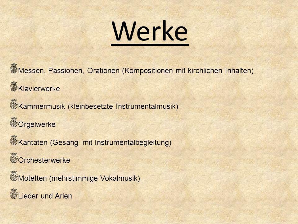 Bedeutung Es befinden sich über 1000 Werke im BWV (Bach Werke Verzeichnis) War neben Georg Friedrich Händel der bedeutendste Komponist der Barockzeit Er war ein religiöser Komponist Bach führte die Fuge zu ihrem Höhepunkt Mit Bachs Tod endet die Barockzeit (1600-1750) Werk J.S.