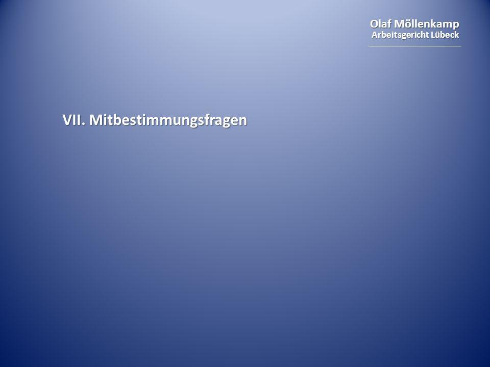 Olaf Möllenkamp Arbeitsgericht Lübeck VII. Mitbestimmungsfragen