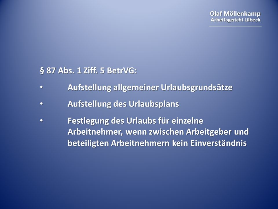 Olaf Möllenkamp Arbeitsgericht Lübeck § 87 Abs.1 Ziff.