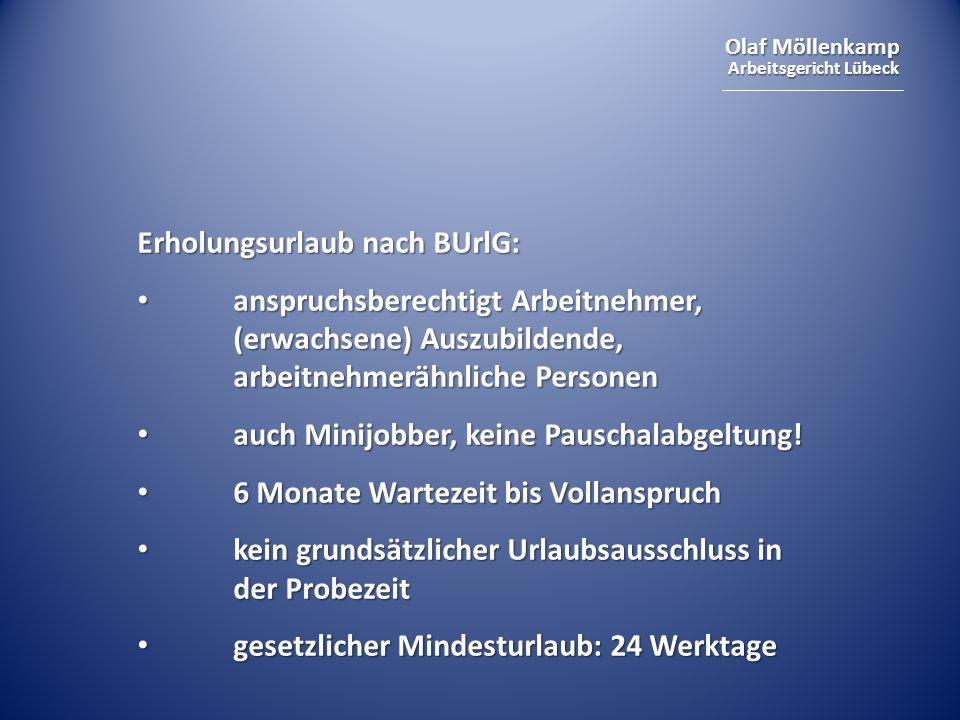 Olaf Möllenkamp Arbeitsgericht Lübeck Erholungsurlaub nach BUrlG: anspruchsberechtigt Arbeitnehmer, (erwachsene) Auszubildende, arbeitnehmerähnliche Personen anspruchsberechtigt Arbeitnehmer, (erwachsene) Auszubildende, arbeitnehmerähnliche Personen auch Minijobber, keine Pauschalabgeltung.
