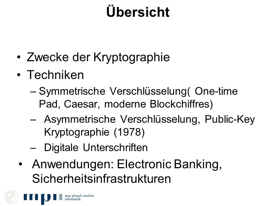 Übersicht Zwecke der Kryptographie Techniken –Symmetrische Verschlüsselung( One-time Pad, Caesar, moderne Blockchiffres) –Asymmetrische Verschlüsselun