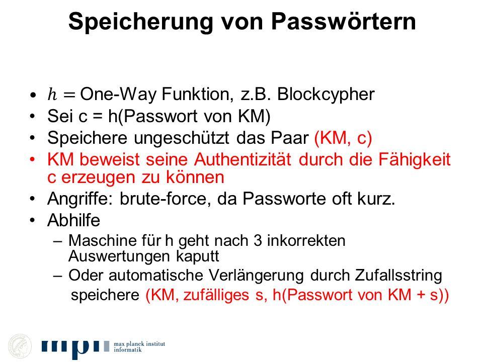 Speicherung von Passwörtern