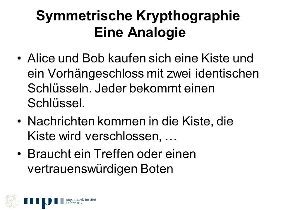 Symmetrische Krypthographie Eine Analogie Alice und Bob kaufen sich eine Kiste und ein Vorhängeschloss mit zwei identischen Schlüsseln. Jeder bekommt