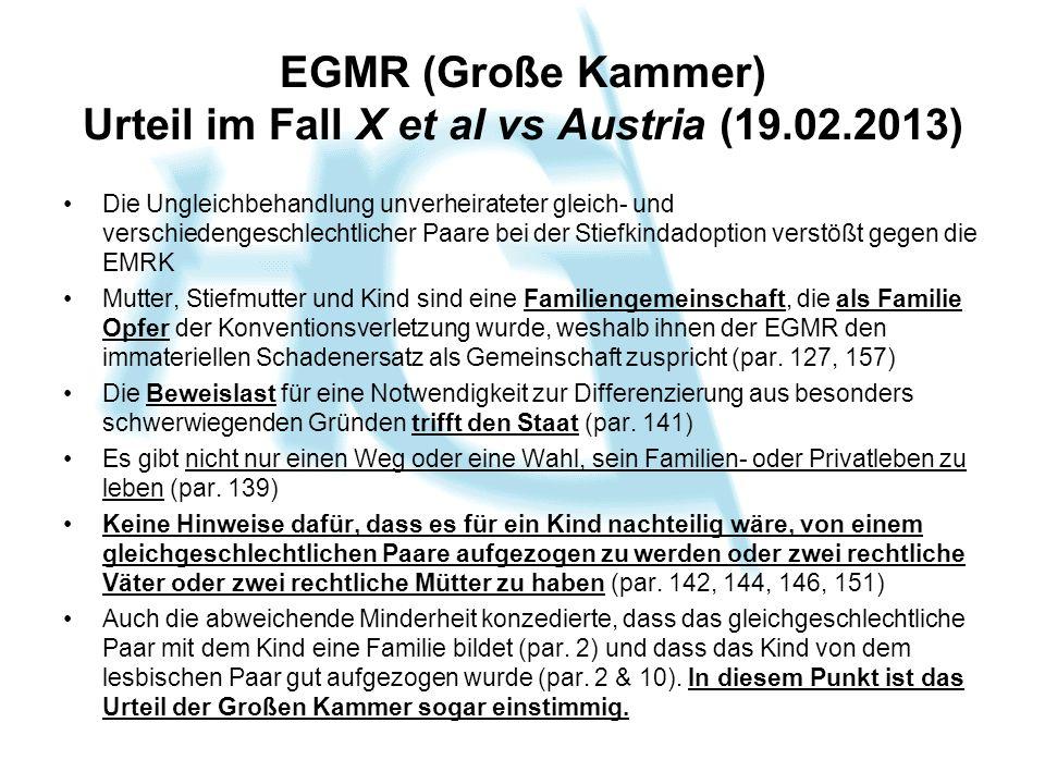 EGMR (Große Kammer) Urteil im Fall X et al vs Austria (19.02.2013) Die Ungleichbehandlung unverheirateter gleich- und verschiedengeschlechtlicher Paar