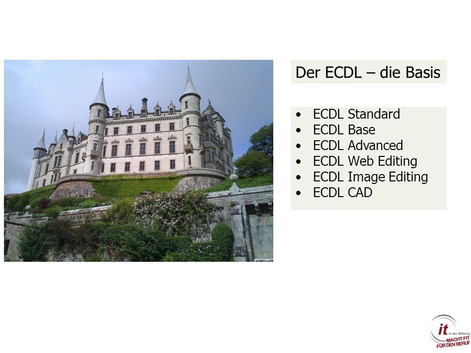 ECDL Standard ECDL Base ECDL Advanced ECDL Web Editing ECDL Image Editing ECDL CAD Der ECDL – die Basis