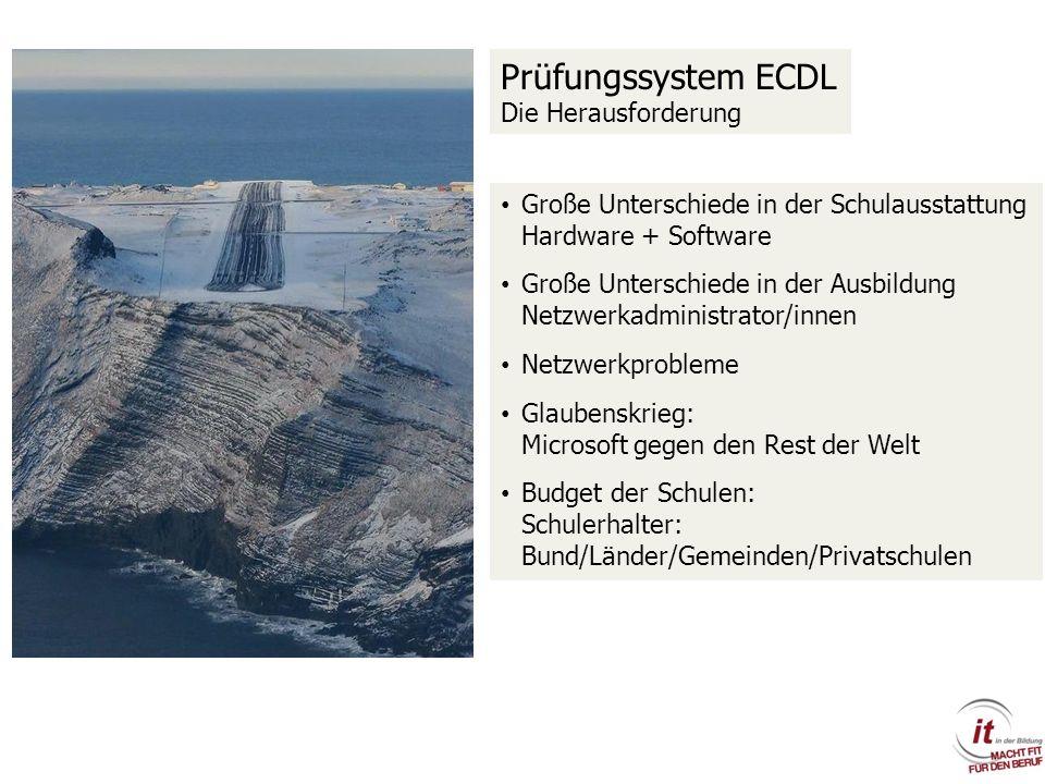 Prüfungssystem ECDL Die Herausforderung Große Unterschiede in der Schulausstattung Hardware + Software Große Unterschiede in der Ausbildung Netzwerkad