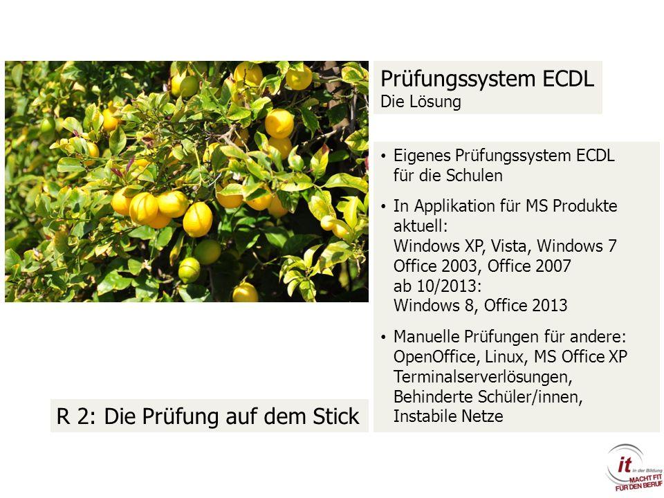 Prüfungssystem ECDL Die Lösung Eigenes Prüfungssystem ECDL für die Schulen In Applikation für MS Produkte aktuell: Windows XP, Vista, Windows 7 Office