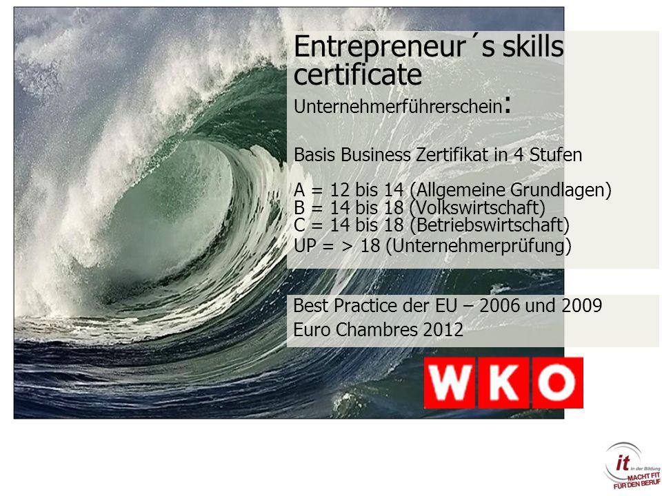 Entrepreneur´s skills certificate Unternehmerführerschein : Basis Business Zertifikat in 4 Stufen A = 12 bis 14 (Allgemeine Grundlagen) B = 14 bis 18