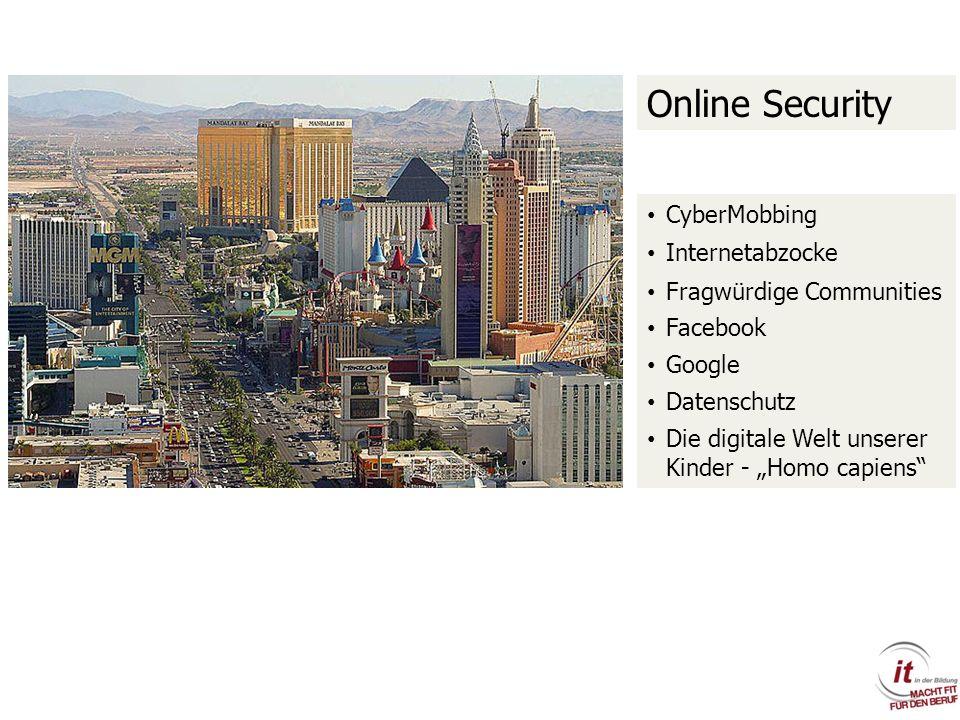 Online Security CyberMobbing Internetabzocke Fragwürdige Communities Facebook Google Datenschutz Die digitale Welt unserer Kinder - Homo capiens