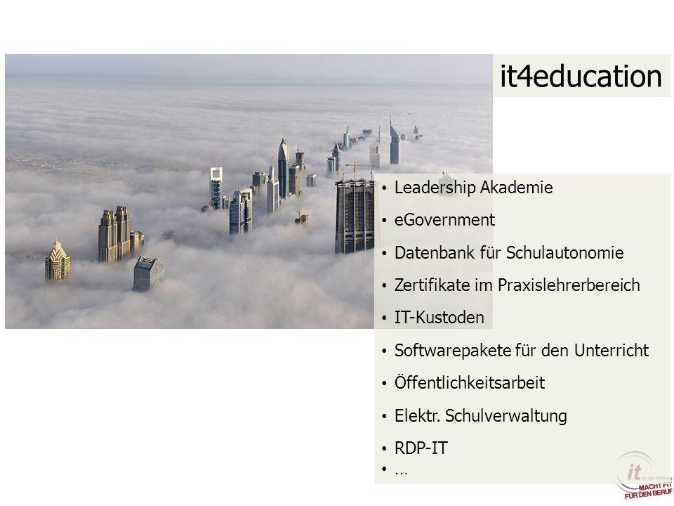 it4education Leadership Akademie eGovernment Datenbank für Schulautonomie Zertifikate im Praxislehrerbereich IT-Kustoden Softwarepakete für den Unterr