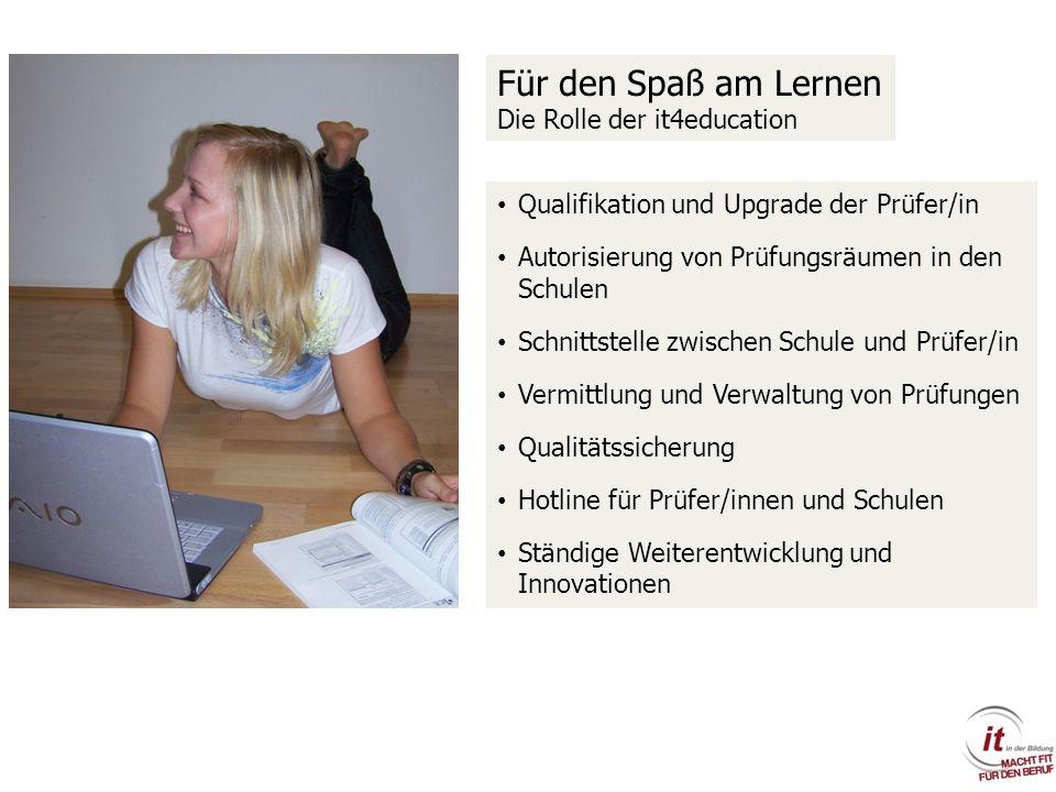 Qualifikation und Upgrade der Prüfer/in Autorisierung von Prüfungsräumen in den Schulen Schnittstelle zwischen Schule und Prüfer/in Vermittlung und Ve