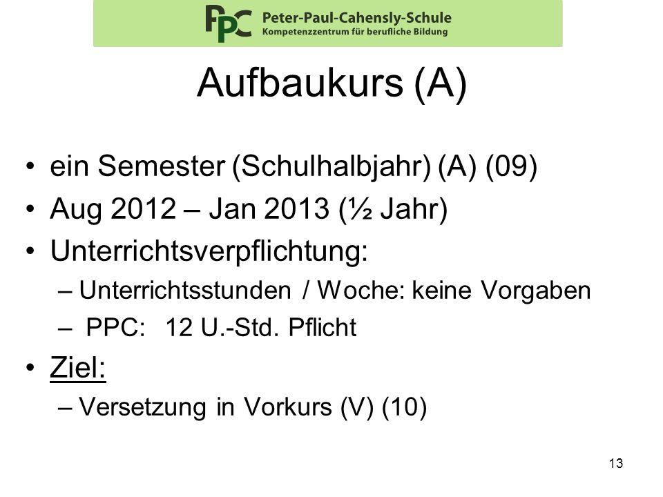 13 Aufbaukurs (A) ein Semester (Schulhalbjahr) (A) (09) Aug 2012 – Jan 2013 (½ Jahr) Unterrichtsverpflichtung: –Unterrichtsstunden / Woche: keine Vorg