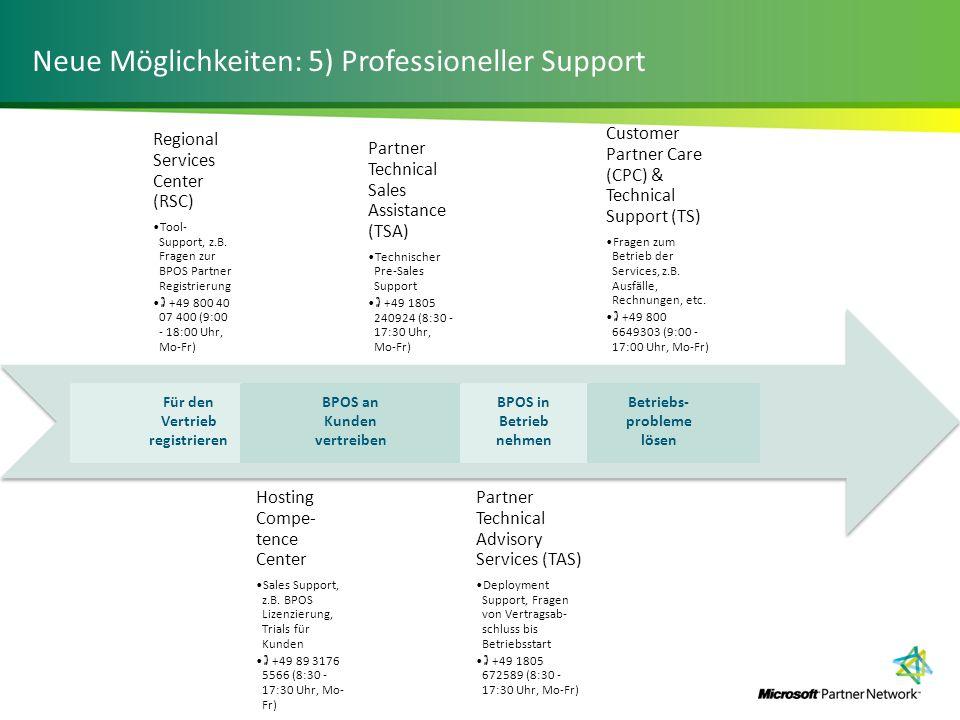 Neue Möglichkeiten: 5) Professioneller Support Regional Services Center (RSC) Tool- Support, z.B. Fragen zur BPOS Partner Registrierung +49 800 40 07