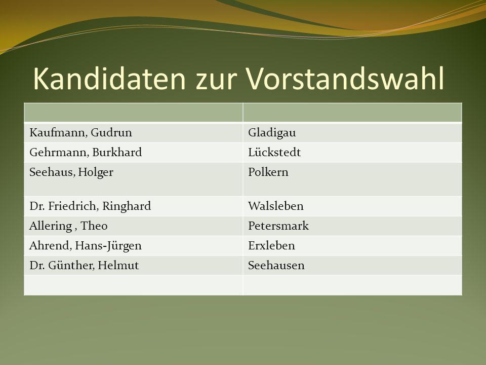 Kandidaten zur Vorstandswahl Kaufmann, GudrunGladigau Gehrmann, BurkhardLückstedt Seehaus, HolgerPolkern Dr.