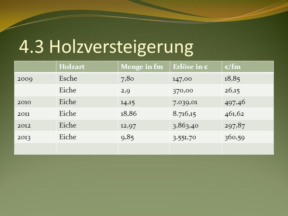 4.3 Holzversteigerung HolzartMenge in fmErlöse in /fm 2009Esche7,80147,0018,85 Eiche2,9370,0026,15 2010Eiche14,157.039,01497,46 2011Eiche18,868.716,15461,62 2012Eiche12,973.863,40297,87 2013Eiche9,853.551,70360,59