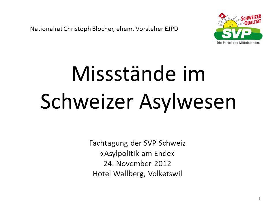 Missstände im Schweizer Asylwesen Fachtagung der SVP Schweiz «Asylpolitik am Ende» 24. November 2012 Hotel Wallberg, Volketswil 1 Nationalrat Christop