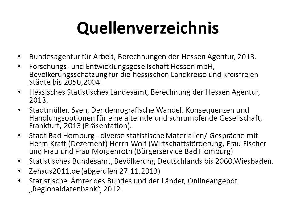 Quellenverzeichnis Bundesagentur für Arbeit, Berechnungen der Hessen Agentur, 2013. Forschungs- und Entwicklungsgesellschaft Hessen mbH, Bevölkerungss