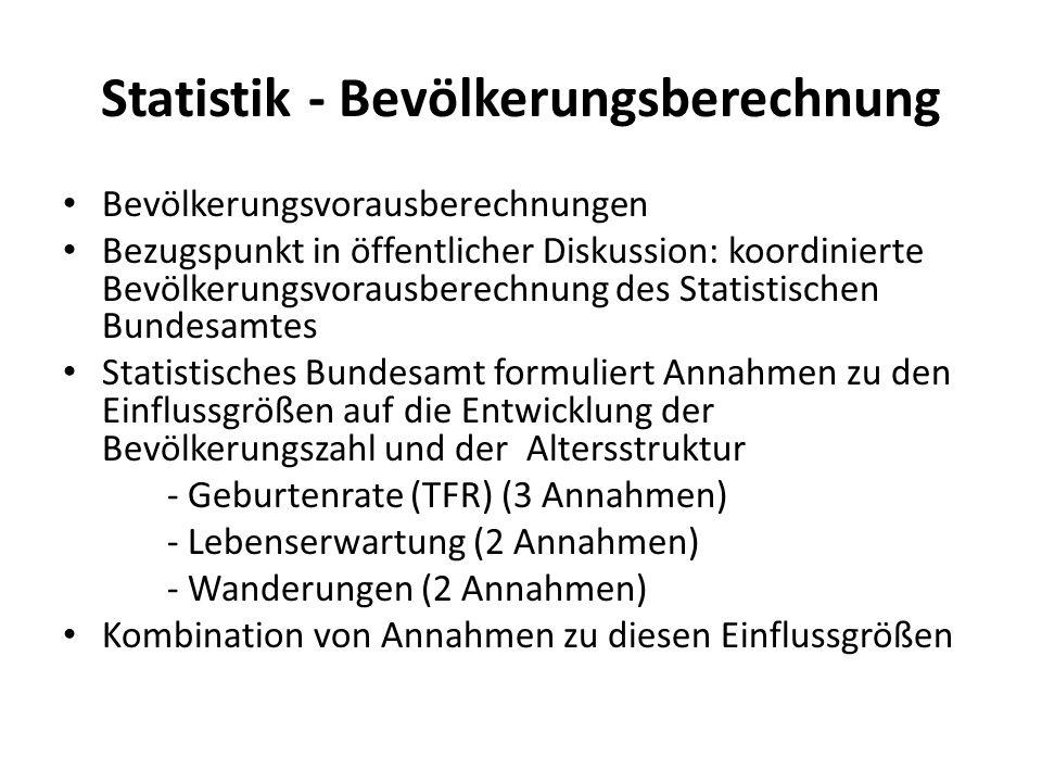 Statistik - Bevölkerungsberechnung Bevölkerungsvorausberechnungen Bezugspunkt in öffentlicher Diskussion: koordinierte Bevölkerungsvorausberechnung de