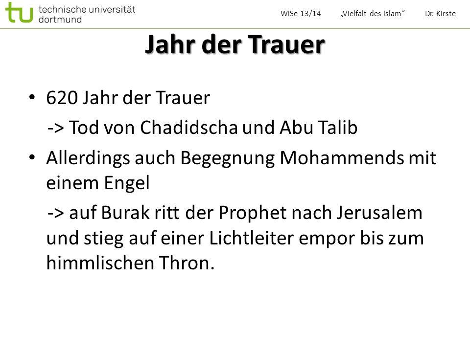 Jahr der Trauer 620 Jahr der Trauer -> Tod von Chadidscha und Abu Talib Allerdings auch Begegnung Mohammends mit einem Engel -> auf Burak ritt der Pro