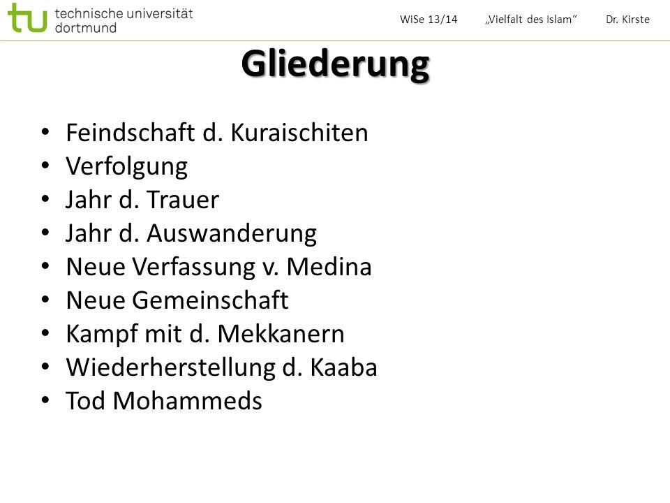 Legende v. Kaaba Oasenstadt Mekka 1)Adam 2)Noah 3)Abraham WiSe 13/14 Vielfalt des Islam Dr. Kirste