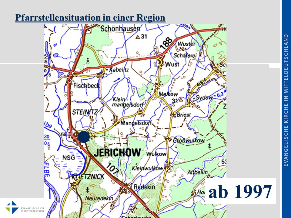 Pfarrstellensituation in einer Region ab 1997