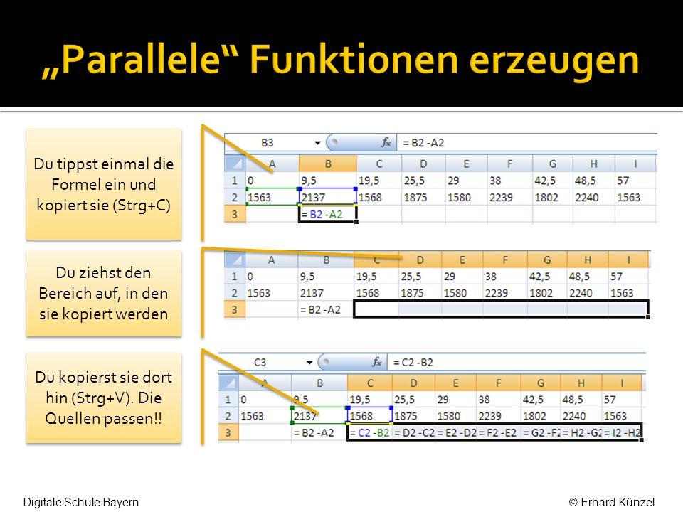 Du tippst einmal die Formel ein und kopiert sie (Strg+C) Du ziehst den Bereich auf, in den sie kopiert werden Du kopierst sie dort hin (Strg+V).