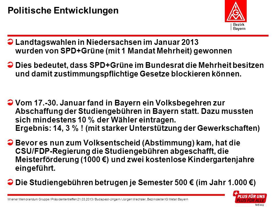 Bezirk Bayern Wiener Memorandum Gruppe / Präsidententreffen 21.03.2013 / Budapest-Ungarn / Jürgen Wechsler, Bezirksleiter IG Metall Bayern Politische