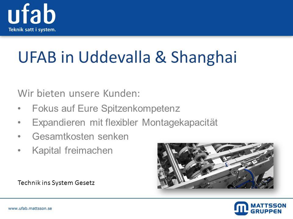 UFAB in Uddevalla & Shanghai Wir bieten unsere Kunden: Fokus auf Eure Spitzenkompetenz Expandieren mit flexibler Montagekapacität Gesamtkosten senken