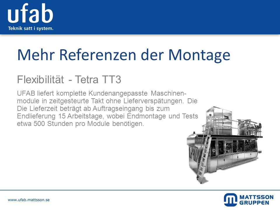 Mehr Referenzen der Montage Flexibilität - Tetra TT3 UFAB liefert komplette Kundenangepasste Maschinen- module in zeitgesteurte Takt ohne Lieferverspä