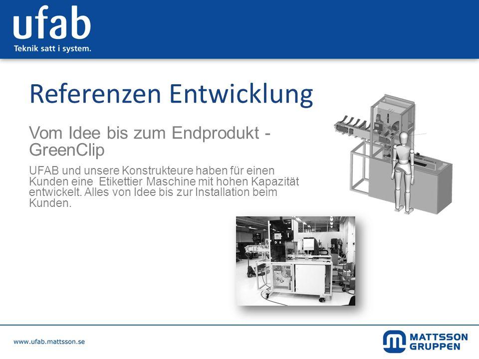 Referenzen Entwicklung Vom Idee bis zum Endprodukt - GreenClip UFAB und unsere Konstrukteure haben für einen Kunden eine Etikettier Maschine mit hohen