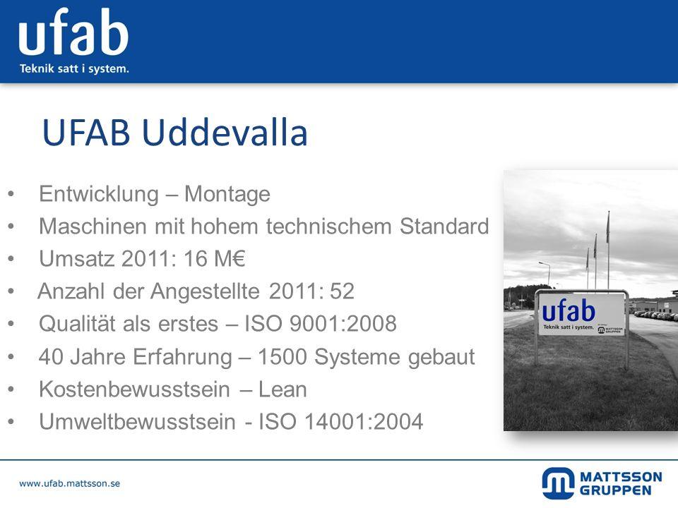 UFAB Uddevalla Entwicklung – Montage Maschinen mit hohem technischem Standard Umsatz 2011: 16 M Anzahl der Angestellte 2011: 52 Qualität als erstes –