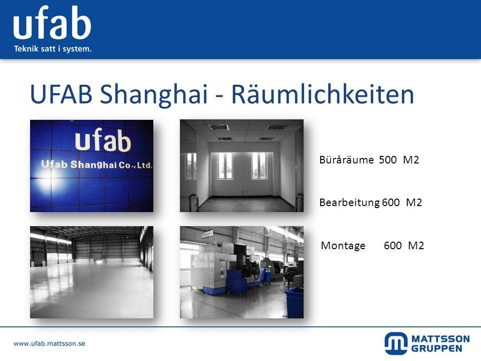 UFAB Shanghai - Räumlichkeiten Büråräume 500 M2 Bearbeitung 600 M2 Montage 600 M2