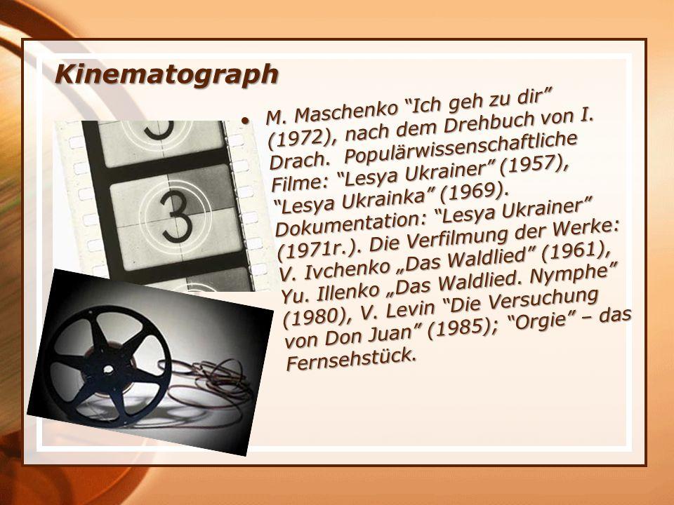 Kinematograph M. Maschenko Ich geh zu dir (1972), nach dem Drehbuch von I.