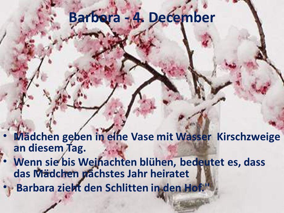 Barbora - 4. December Mädchen geben in eine Vase mit Wasser Kirschzweige an diesem Tag. Wenn sie bis Weinachten blühen, bedeutet es, dass das Mädchen
