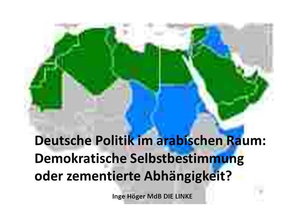 Deutsche Politik im arabischen Raum: Demokratische Selbstbestimmung oder zementierte Abhängigkeit? Inge Höger MdB DIE LINKE