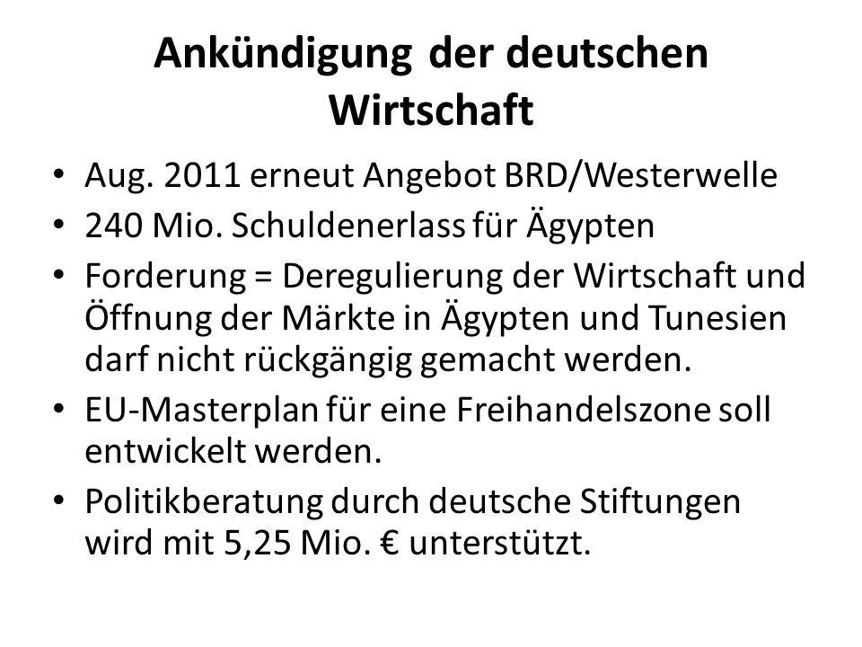 Ankündigung der deutschen Wirtschaft Aug. 2011 erneut Angebot BRD/Westerwelle 240 Mio. Schuldenerlass für Ägypten Forderung = Deregulierung der Wirtsc