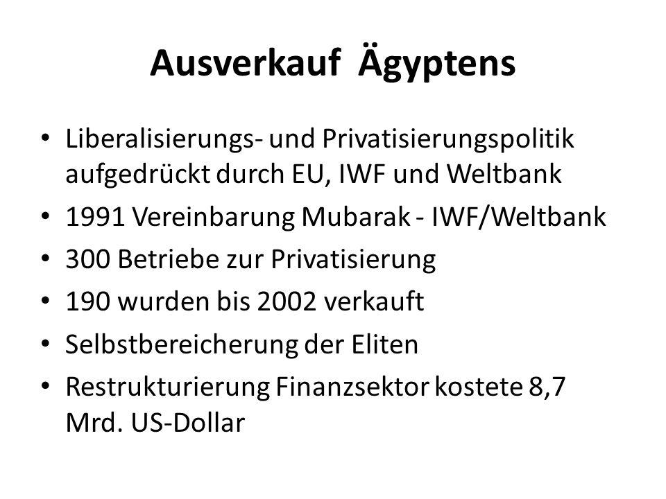 Ausverkauf Ägyptens Liberalisierungs- und Privatisierungspolitik aufgedrückt durch EU, IWF und Weltbank 1991 Vereinbarung Mubarak - IWF/Weltbank 300 Betriebe zur Privatisierung 190 wurden bis 2002 verkauft Selbstbereicherung der Eliten Restrukturierung Finanzsektor kostete 8,7 Mrd.