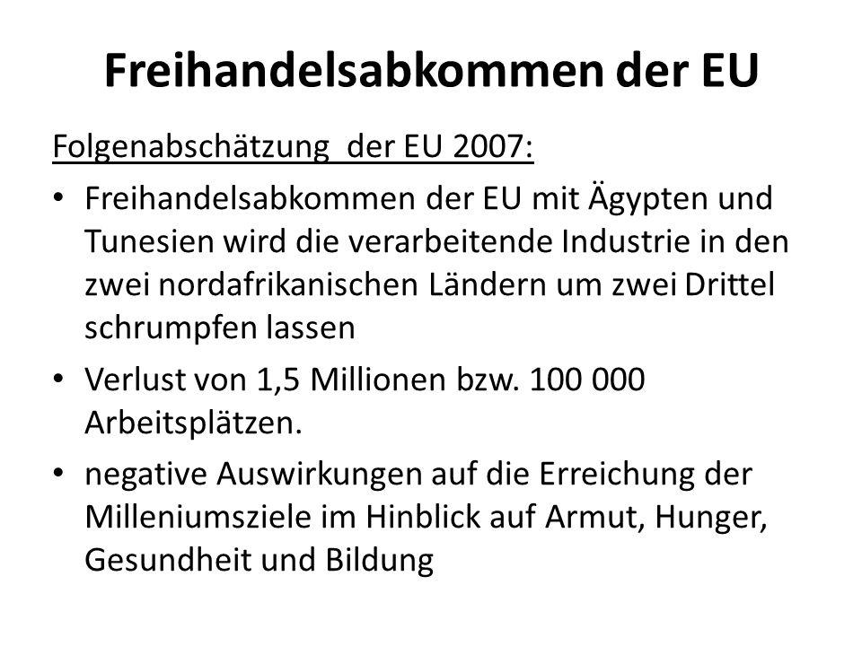 Freihandelsabkommen der EU Folgenabschätzung der EU 2007: Freihandelsabkommen der EU mit Ägypten und Tunesien wird die verarbeitende Industrie in den zwei nordafrikanischen Ländern um zwei Drittel schrumpfen lassen Verlust von 1,5 Millionen bzw.
