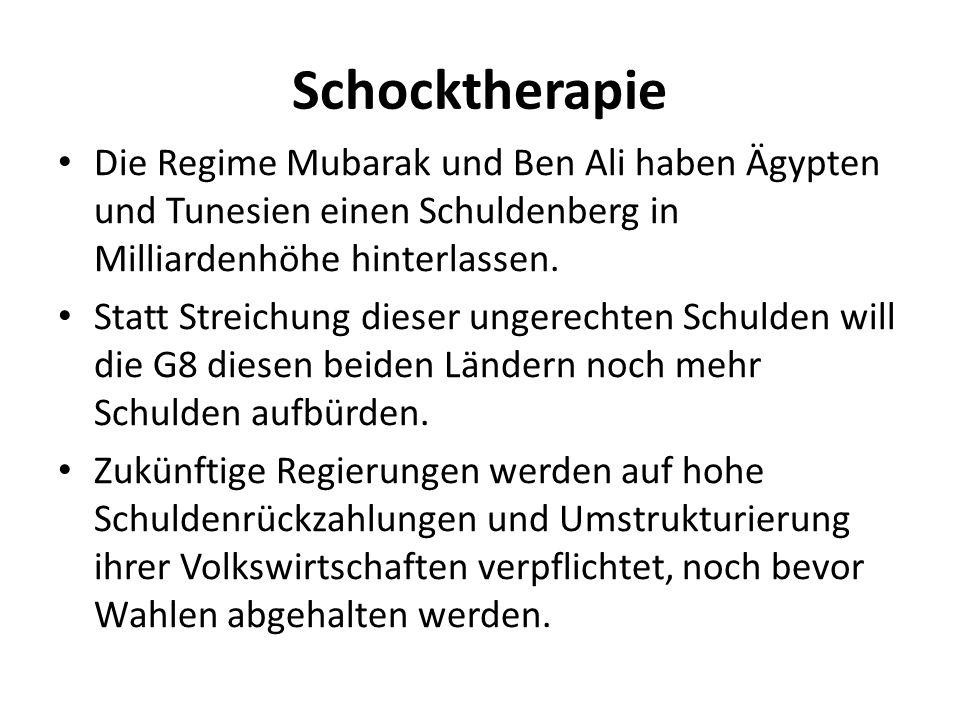 Schocktherapie Die Regime Mubarak und Ben Ali haben Ägypten und Tunesien einen Schuldenberg in Milliardenhöhe hinterlassen. Statt Streichung dieser un