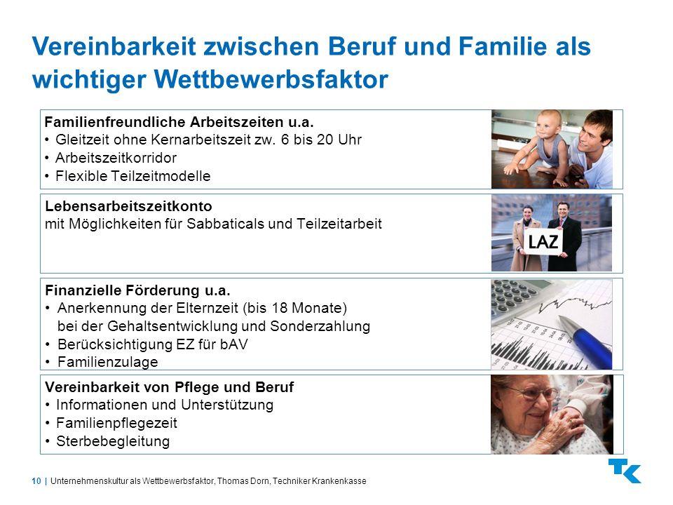 10  Vereinbarkeit zwischen Beruf und Familie als wichtiger Wettbewerbsfaktor Unternehmenskultur als Wettbewerbsfaktor, Thomas Dorn, Techniker Krankenk