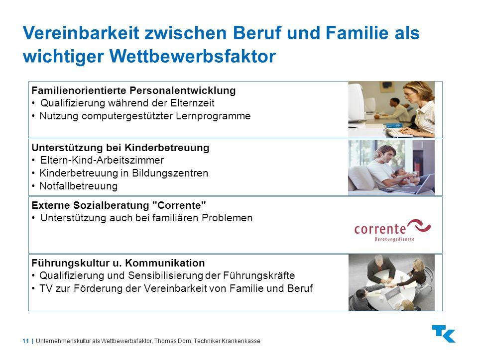 11  Vereinbarkeit zwischen Beruf und Familie als wichtiger Wettbewerbsfaktor Unternehmenskultur als Wettbewerbsfaktor, Thomas Dorn, Techniker Krankenk