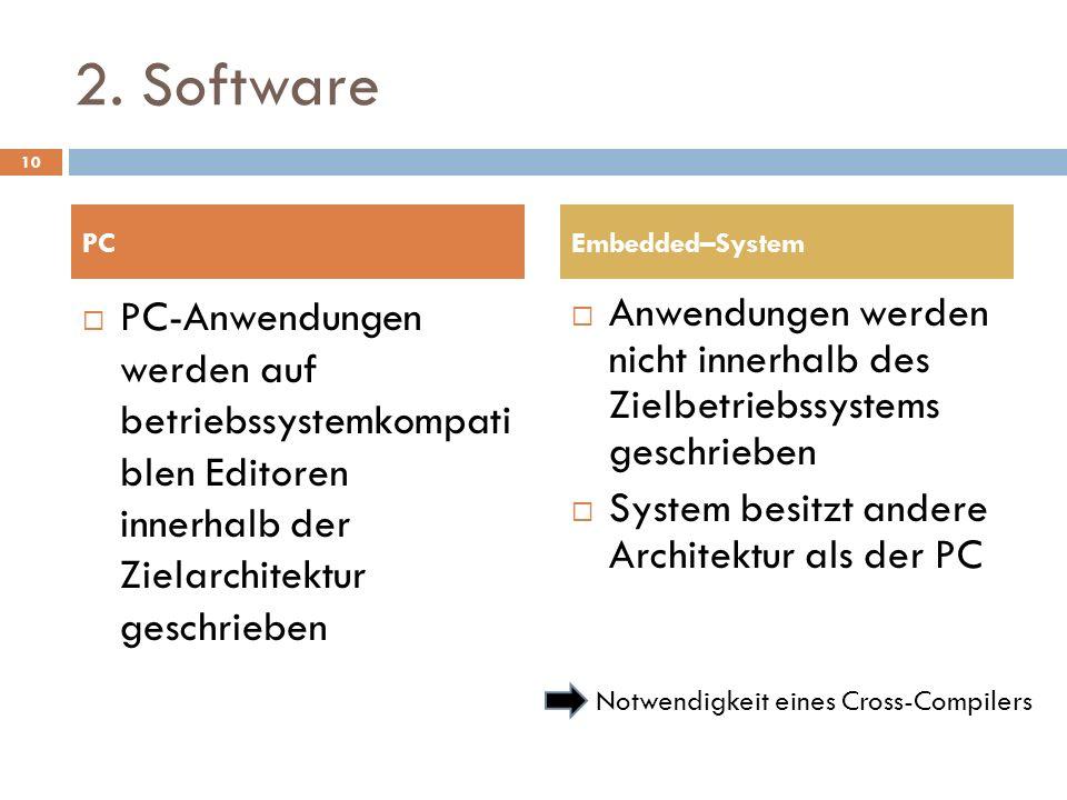 2. Software PC-Anwendungen werden auf betriebssystemkompati blen Editoren innerhalb der Zielarchitektur geschrieben Anwendungen werden nicht innerhalb
