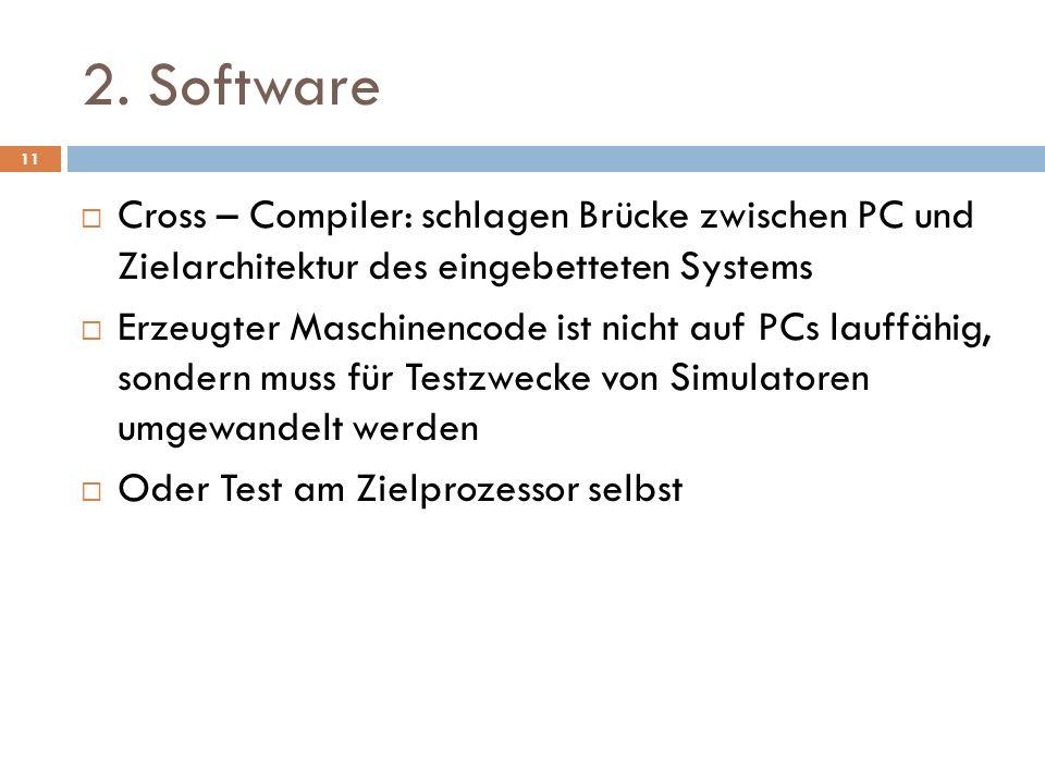2. Software Cross – Compiler: schlagen Brücke zwischen PC und Zielarchitektur des eingebetteten Systems Erzeugter Maschinencode ist nicht auf PCs lauf