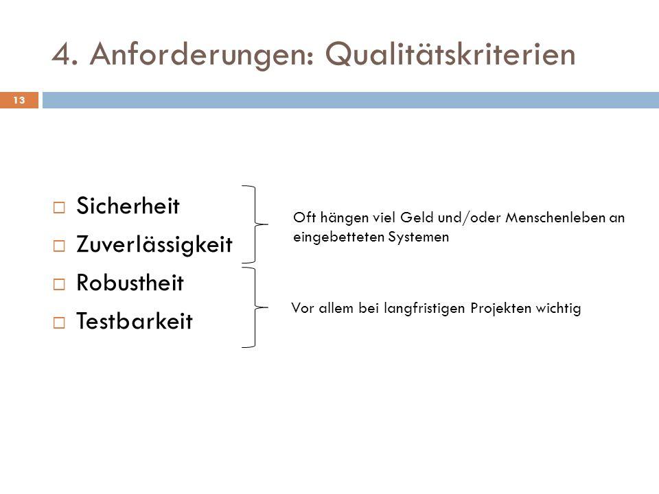 4. Anforderungen: Qualitätskriterien Sicherheit Zuverlässigkeit Robustheit Testbarkeit Vor allem bei langfristigen Projekten wichtig Oft hängen viel G