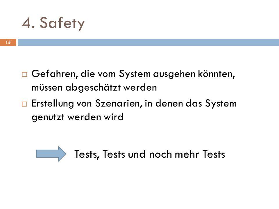 4. Safety Gefahren, die vom System ausgehen könnten, müssen abgeschätzt werden Erstellung von Szenarien, in denen das System genutzt werden wird Tests