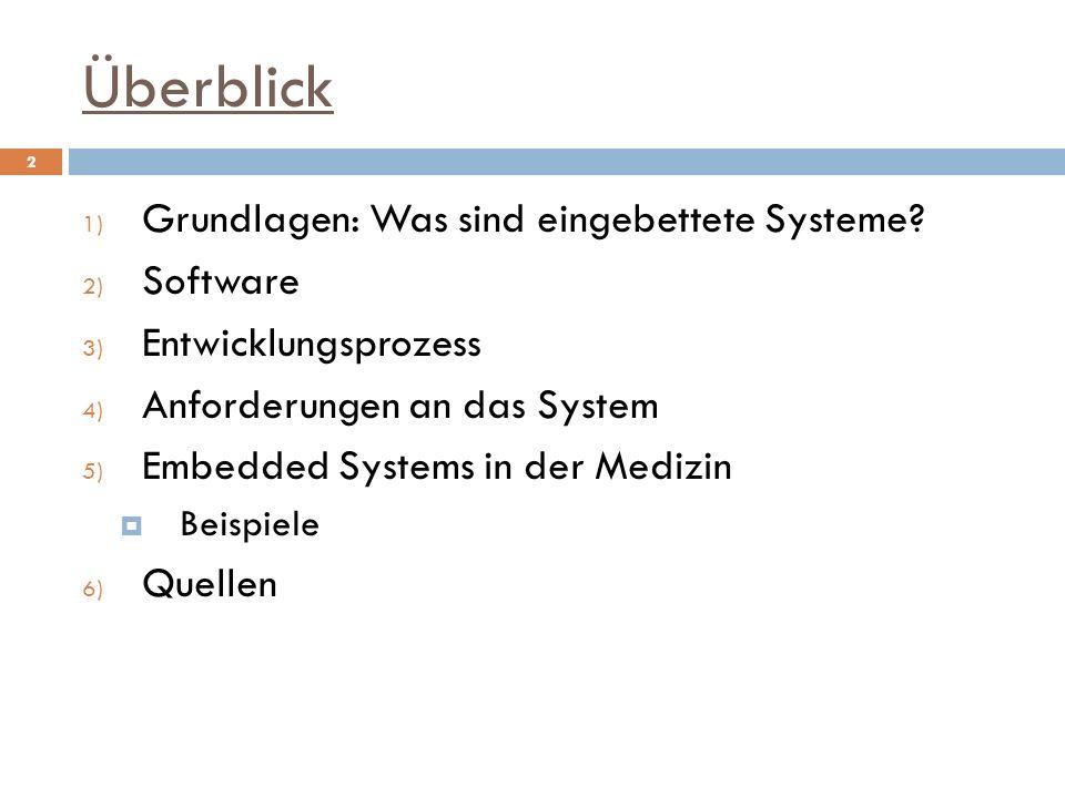 Überblick 1) Grundlagen: Was sind eingebettete Systeme? 2) Software 3) Entwicklungsprozess 4) Anforderungen an das System 5) Embedded Systems in der M